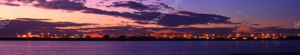 Sunset panorama view from port botany, Sydney.