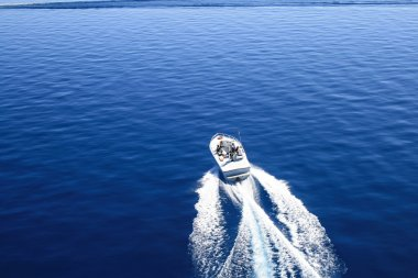 Motor boat or yacht on the lake Tahoe.