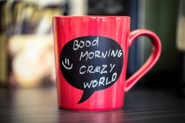 Cup with good morning sign