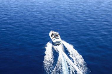 Motor boat on lake
