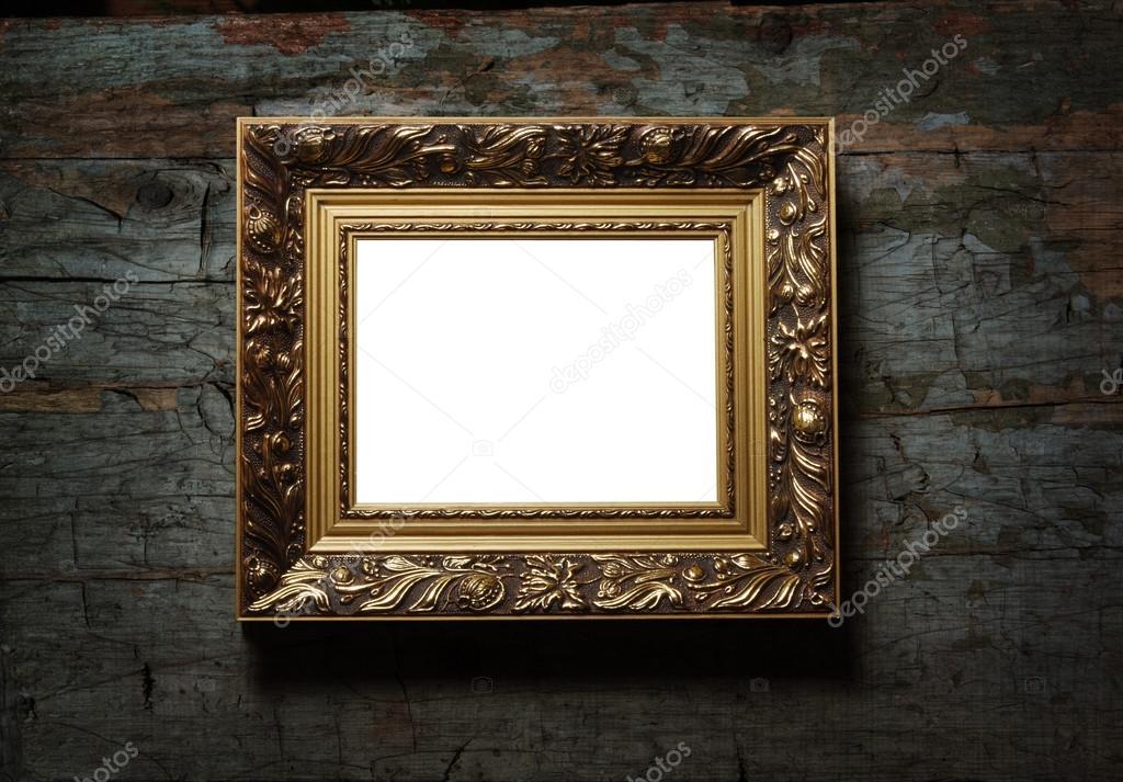 Bild des antiken Bilderrahmen am alten Holz Textur — Stockfoto ...