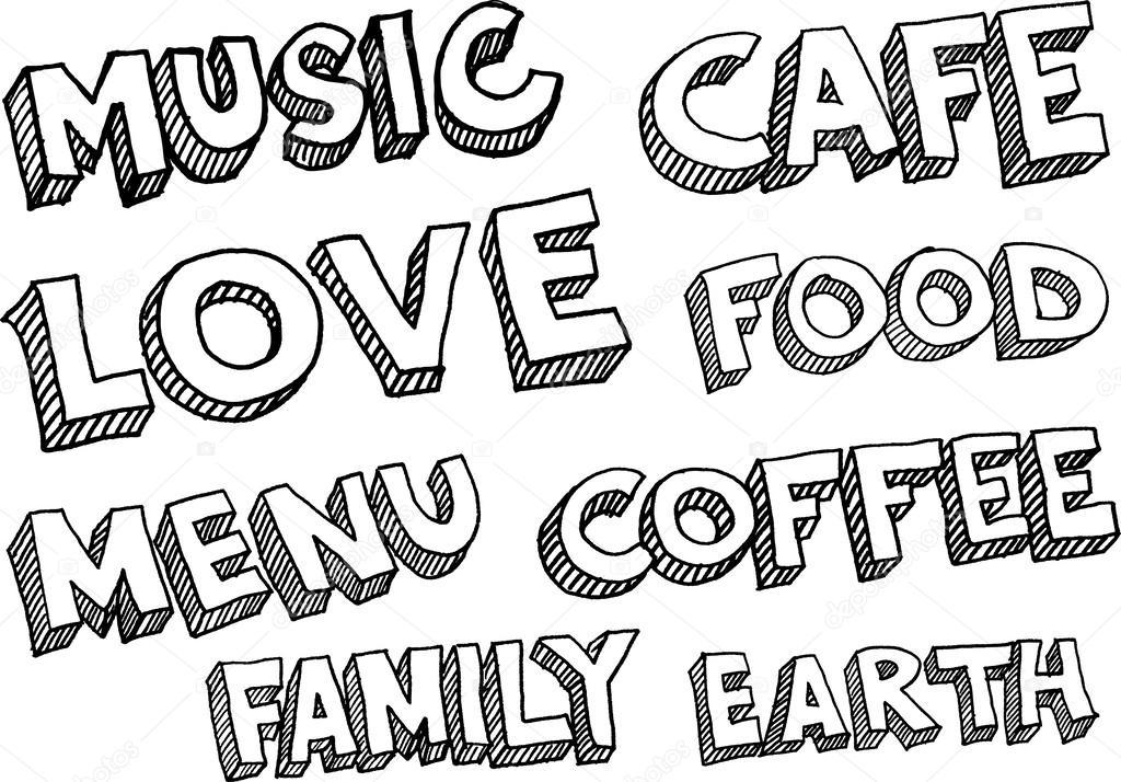 Ord Musik Café Kärlek Mat Meny Kaffe Familj Jorden Stock