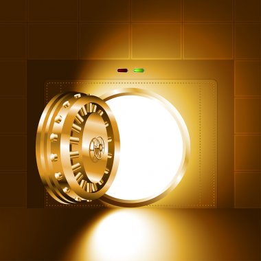 Light open door safe gold