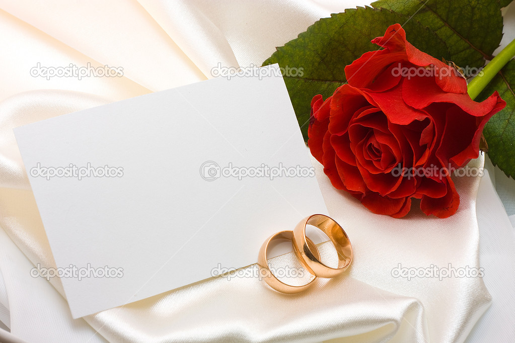 Wedding rings rose and card Stock Photo masintos 29458897