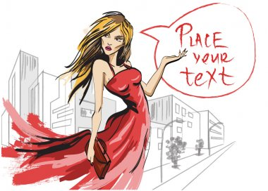 Woman in red dress. Hand painted fashion illustration