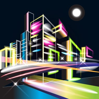 Vector illustration of night city lights