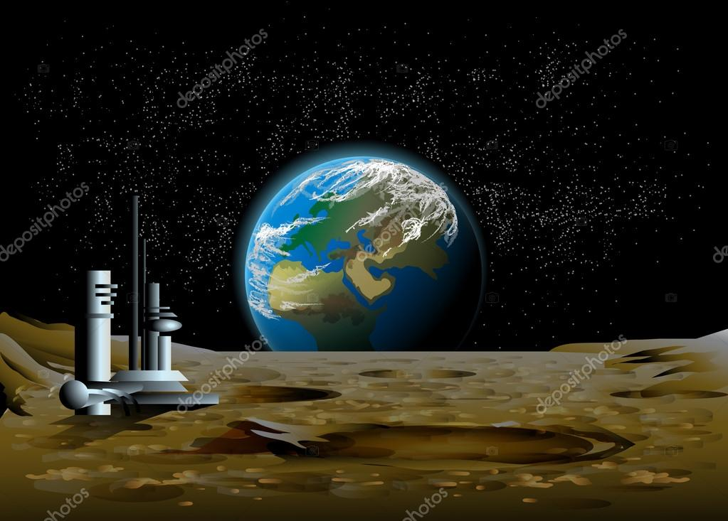 Rise of the planet earth on the moon