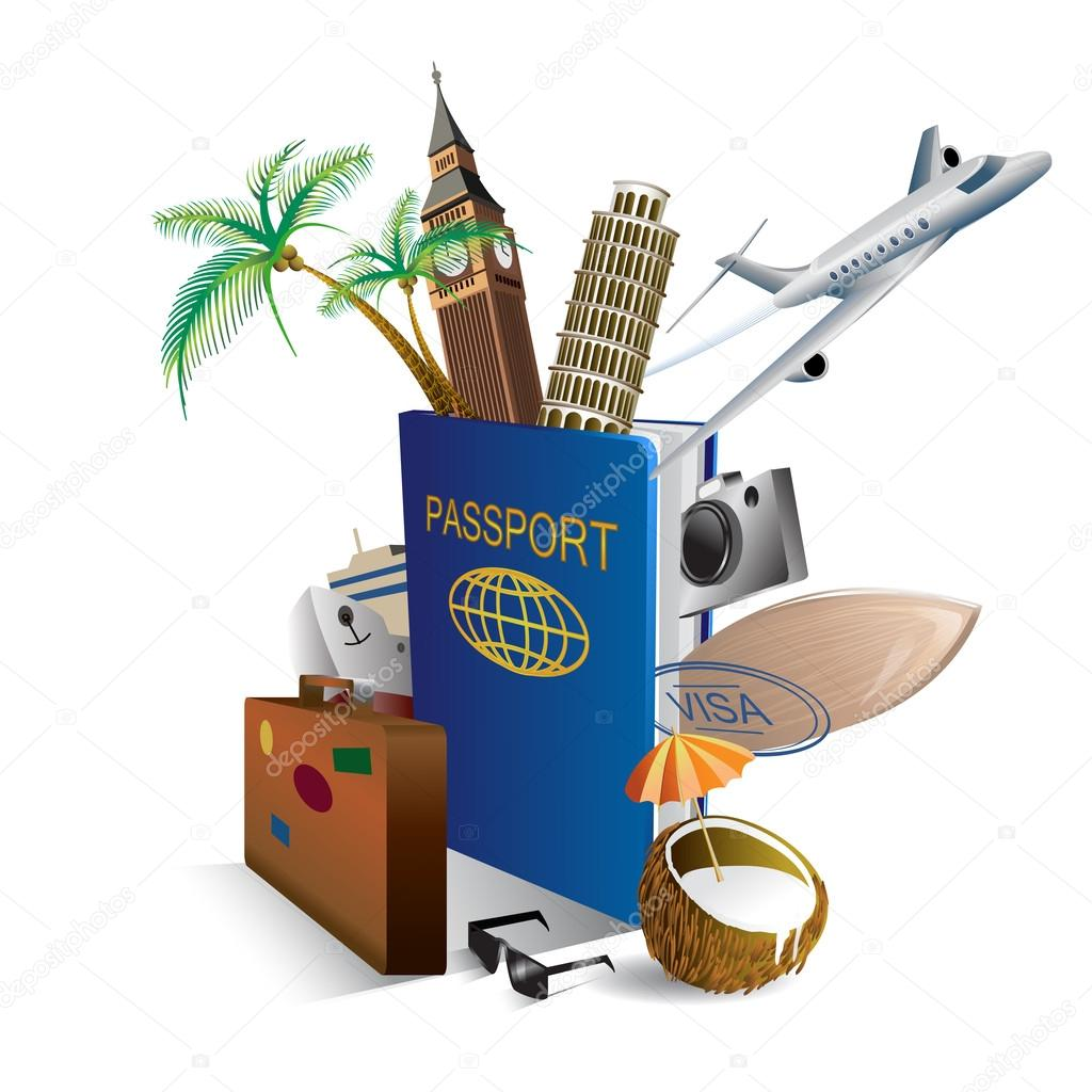 Illustration international passport and elements of travel and