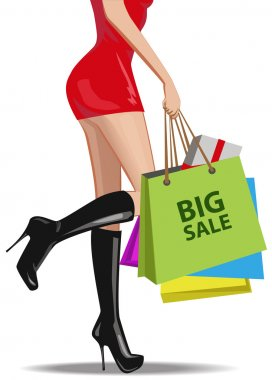 The girl in the red dress buys shopping on the sale of a large variety of handbags. Vector illustration.