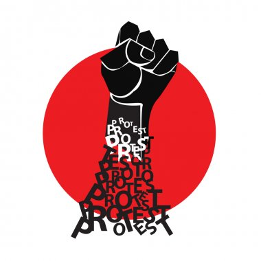 Fist in the red circle. The symbol of protest. Vector illustration.