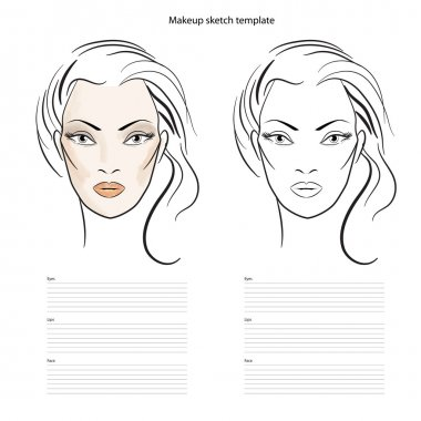 Makeup sketch template, beauty face girl. Vector illustration