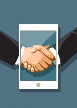 Businessmen shaking hands in a tablet PC. Social networks