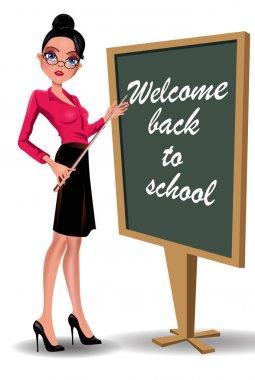 Teacher at blackboard. Vector image of a young woman teacher  school board.