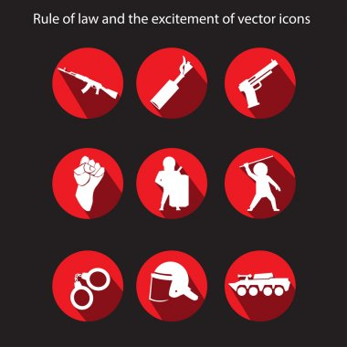 Protests and police vector icons