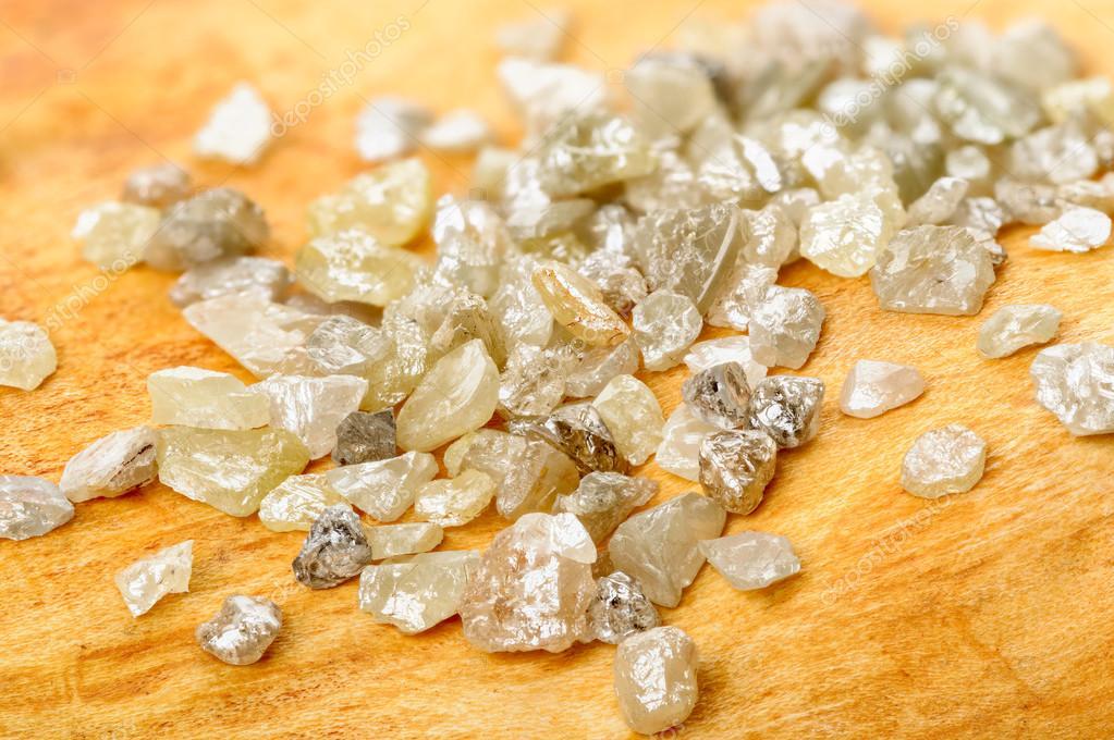 Uncut diamonds on birch