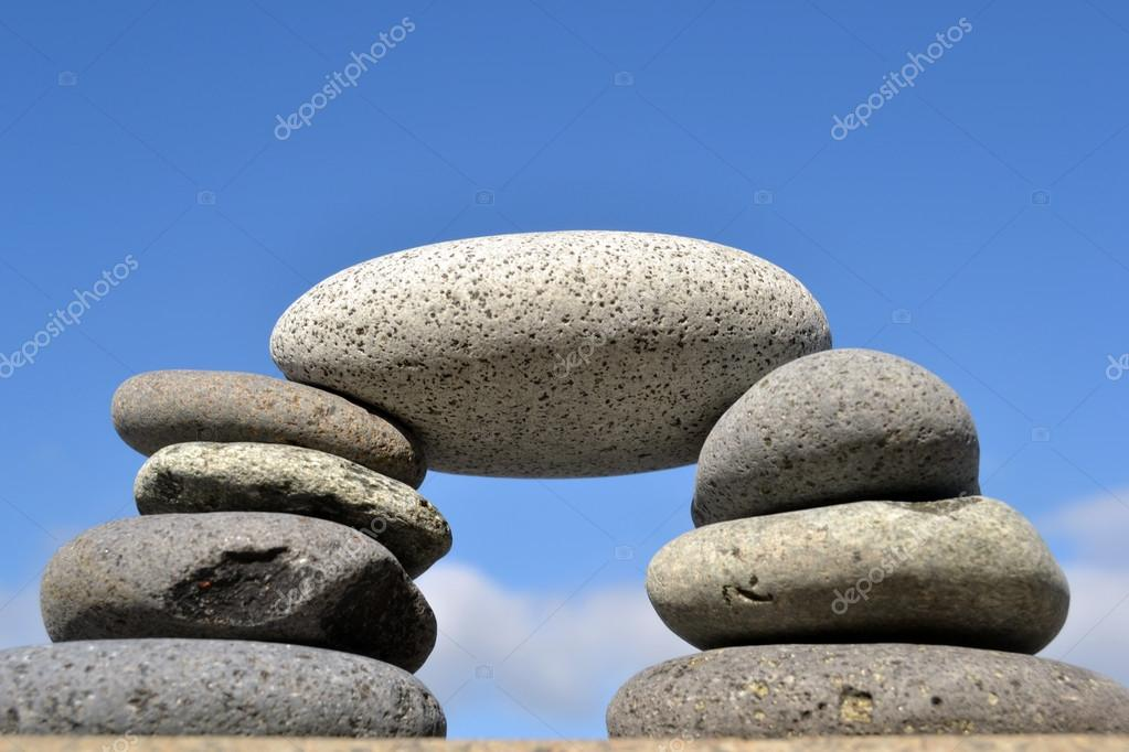 Zen stones with sea background