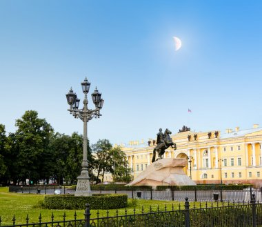 White nights in St. Petersburg. Monument to Peter the Great at Moonlight night