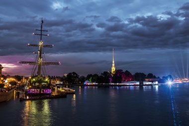 Views of the sailing ship in the waters of the Neva River and th
