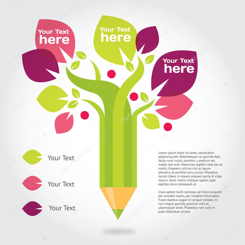 Pencil tree, info graphic about education and growing.