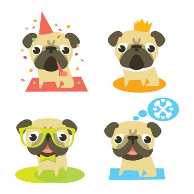 Funny pug dogs in different situation: pug's birthday, pug-prince, pug-hipster and dreaming pug.