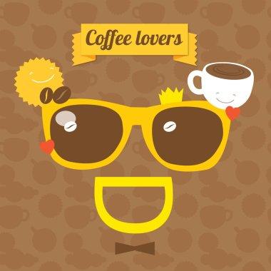 Coffee smile sunglasses. Vector illustration