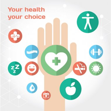 Healthy lifestyle background with flat icon set