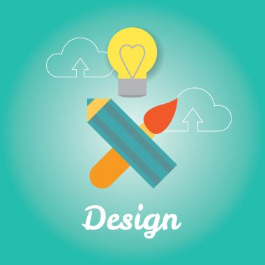 Sign od design in style of pirate flag. Idea and creative process, drawing and design. Modern stylish vector flat illustration