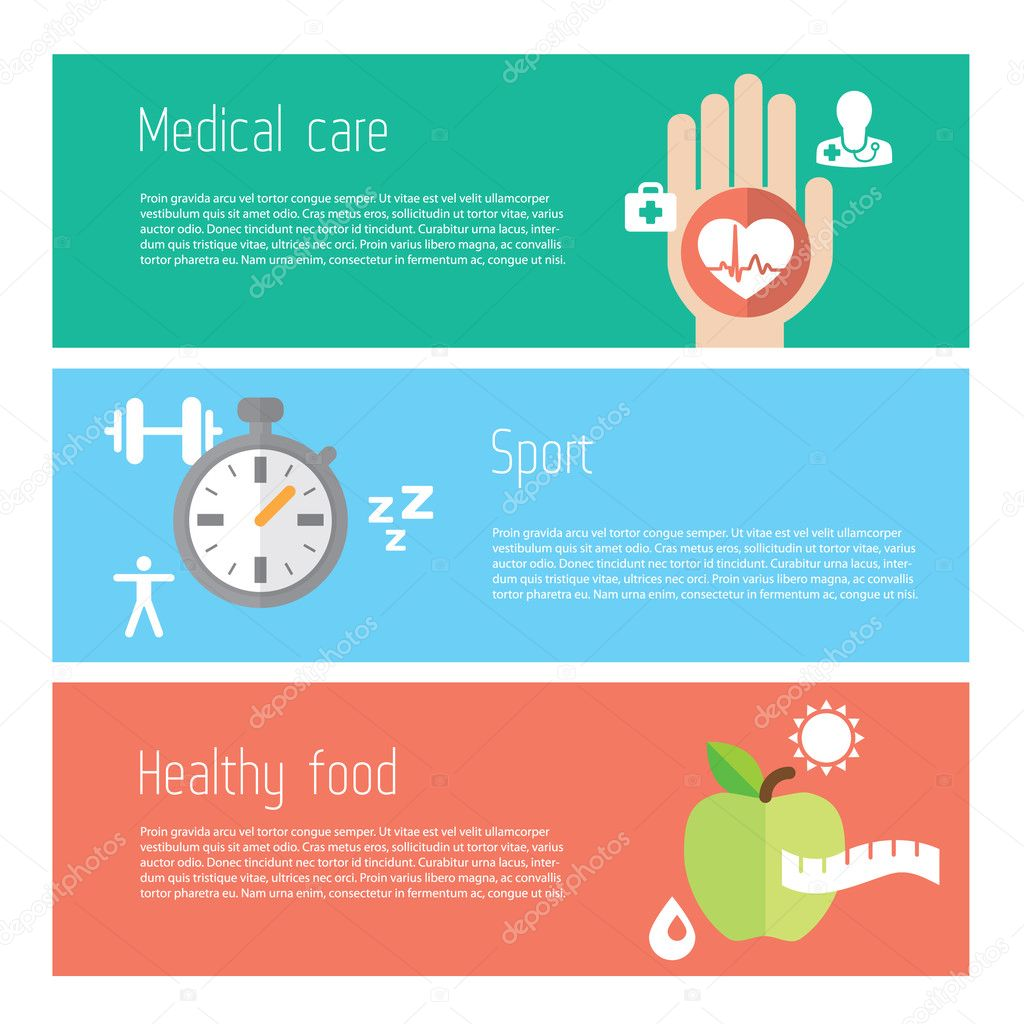 Healthy lifestyle flat stylish illustration banners set. Medicine and health care, food and sport theme. Modern colors.