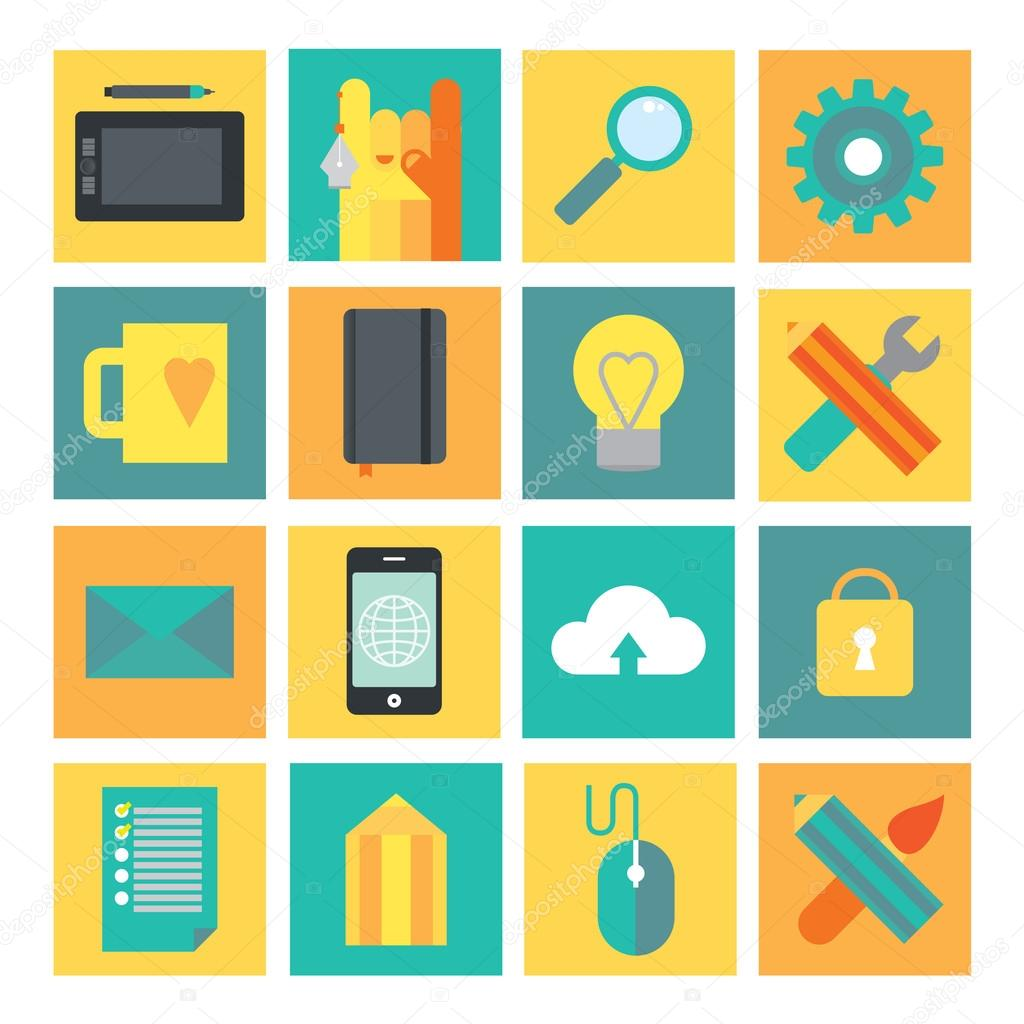 Development and design process icon set. Process of creating software and designs. Vector modern illustration in flat style.