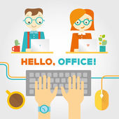 Office or co working life with working people