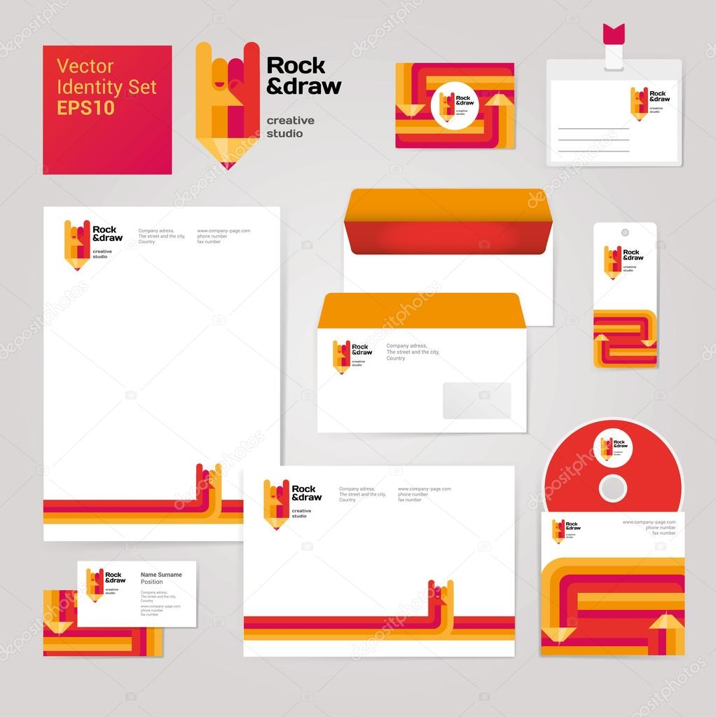 Creative set with envelope blank business card and disk stock art creative drawing corporate identity style set with envelope blank business card and disk modern vector illustration and design elements vector by reheart Gallery