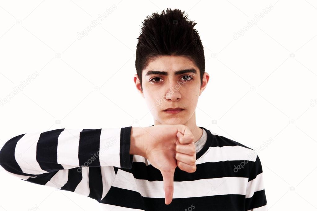 foto de Thumbs down sad guy Stock Photo © se media #30115927