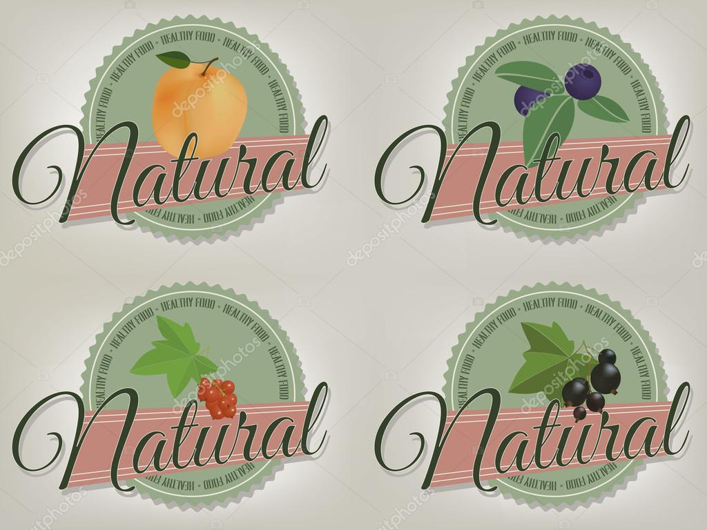 Natural product, healthy food labels.