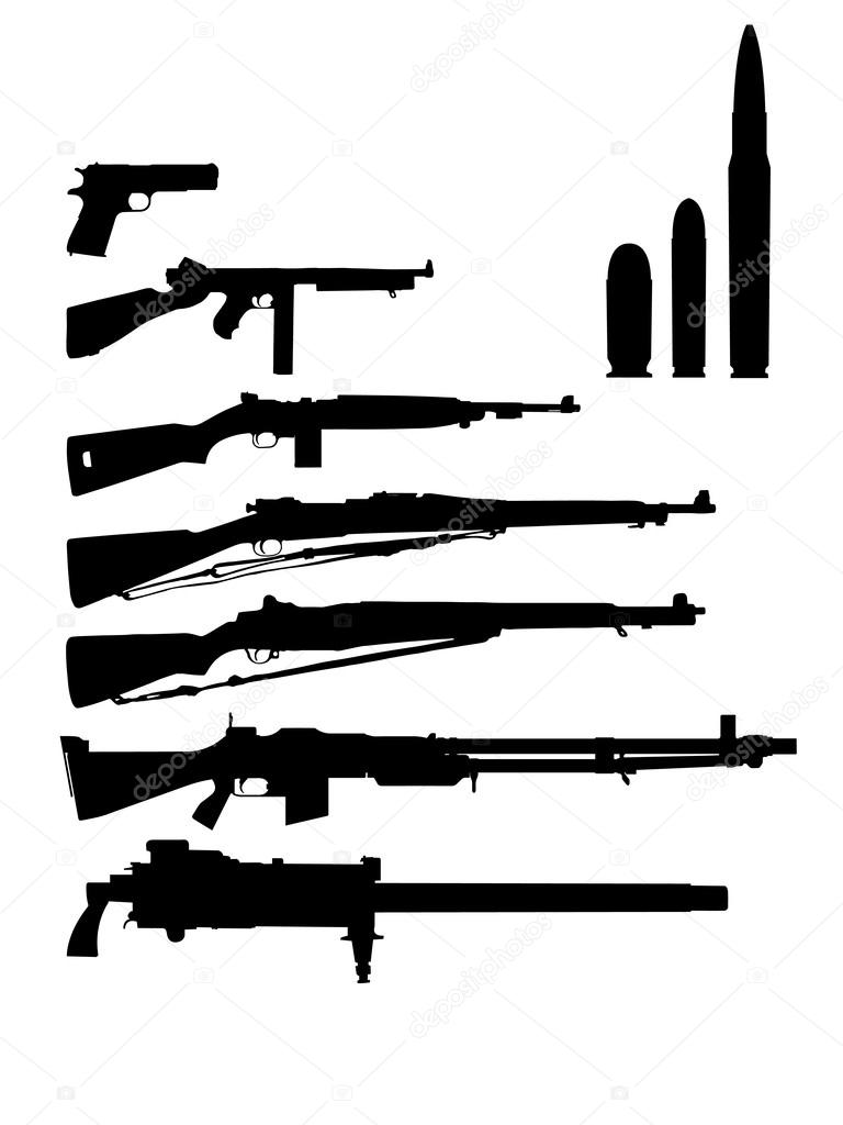 U.S. sleazy different weapons of the second world war stock vector