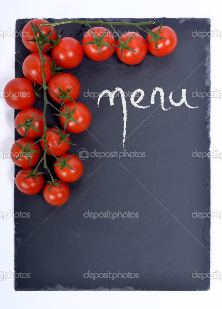 Men Su Una Lavagnetta Con Pomodori Foto Stock Philipimage 41923935