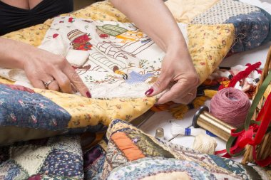 Quilting equipment and fabrics.