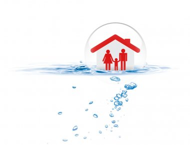 Shield protecting family from flood, Life insurance concept