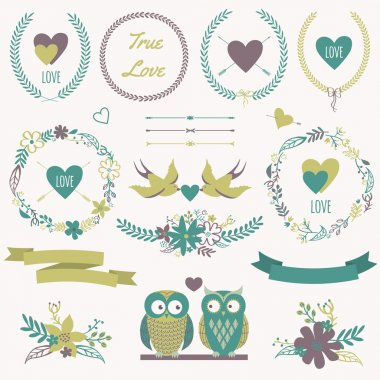Vector romantic set with bouquets, birds, hearts, arrows, ribbon