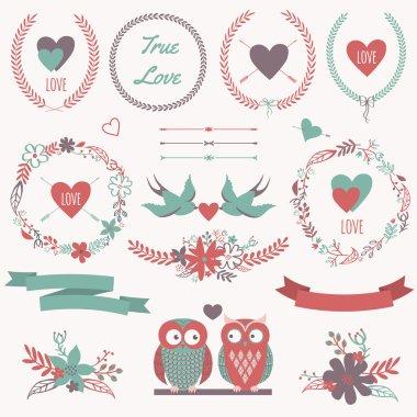 Vector romantic set with bouquets, birds, hearts, arrows, ribbon