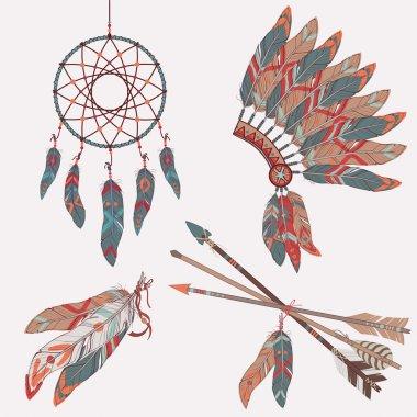 Vector ethnic set: dream catcher, feathers, arrows, headdress
