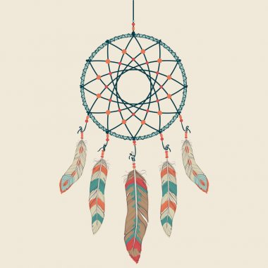 Vector colorful illustration of dream catcher
