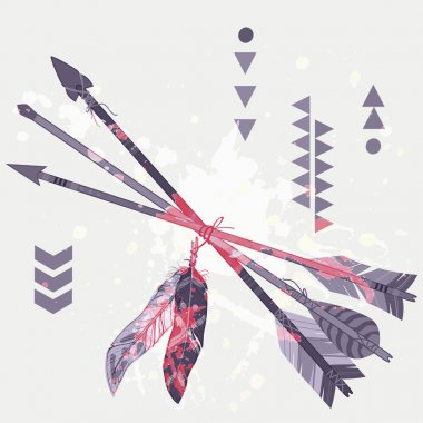 Vector grunge illustration of different ethnic arrows with feathers and splash