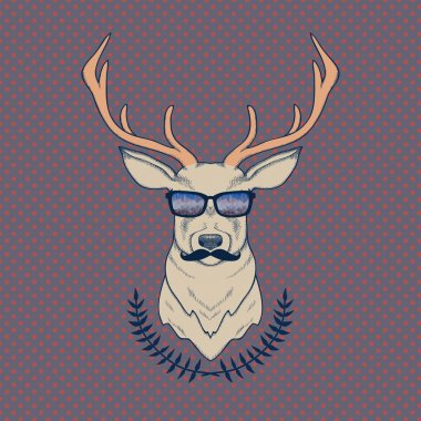 Vector hand drawn colorful illustration of hipster deer with mus