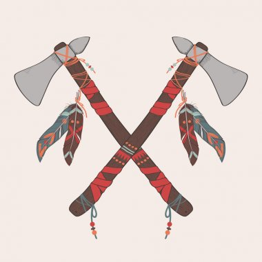 Vector illustration of native American indian tomahawks