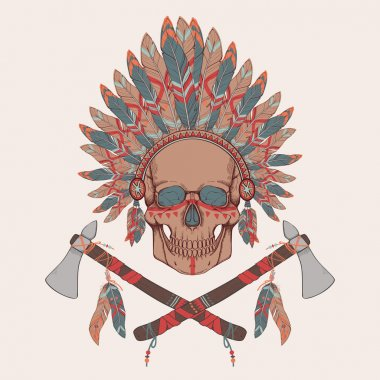 Vector illustration of human skull in native american indian chief headdress, tomahawks