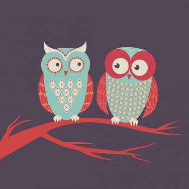 Vector illustration of two cute colorful owls sitting on a branch
