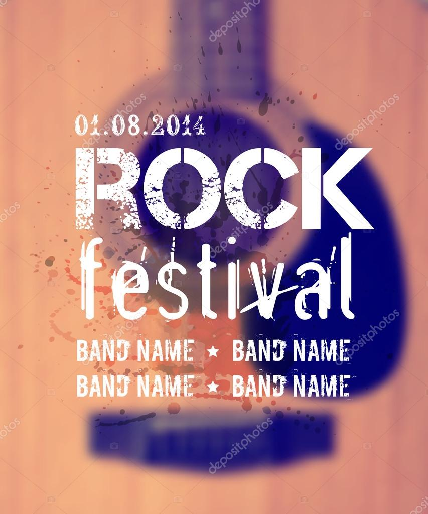 Vector blurred background with acoustic guitar. Rock festival design template with watercolor splatter and place for text.