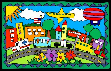 Childrens artwork of a city scene with trucks, buildings, flowers