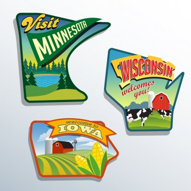 Midwest United States Minnesota Wisconsin Iowa vector illustrations designs