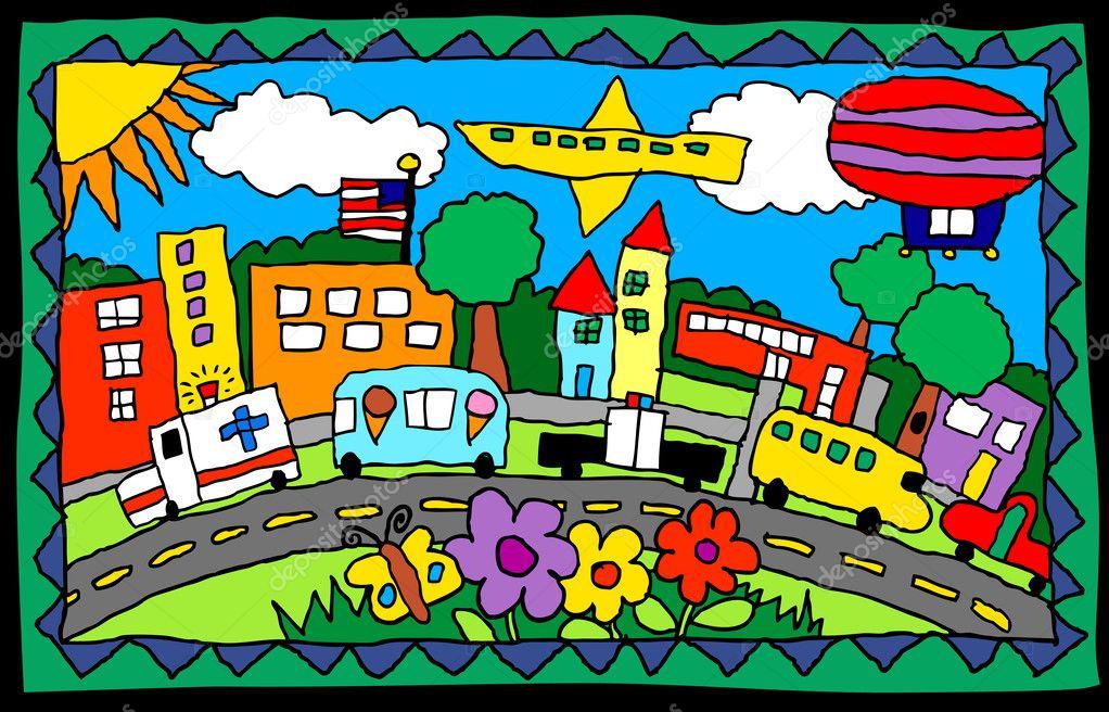 obra de arte para niños de una escena de la ciudad con camiones ...
